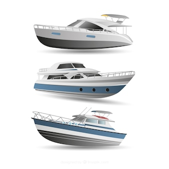 Set of modern boats