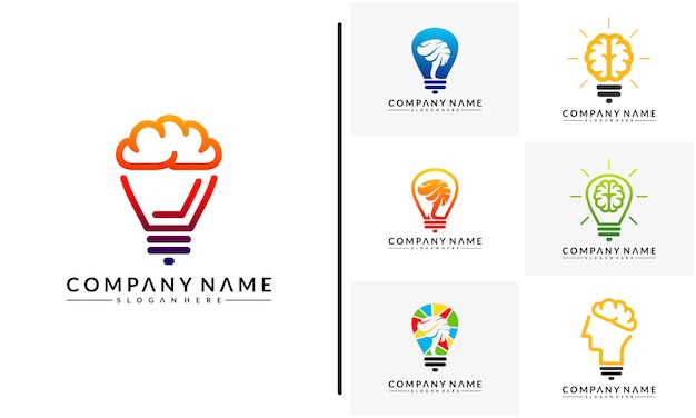 Set of modern brain bulb logo concept