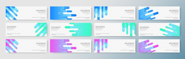 Set of modern business banners with abstract shape