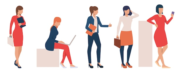 Set of modern business ladies performing tasks