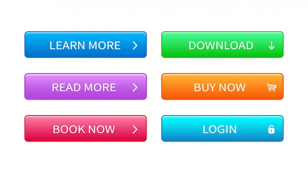 Set of modern buttons for web site, ui and games.
