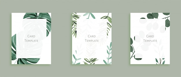 Set of modern card templates with wild leaves