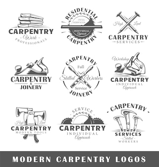 Set of modern carpentry labels