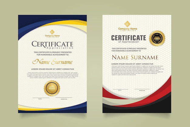 Set modern certificate template with futuristic and elegant color wave shape on the ornament and modern pattern background. size a4.