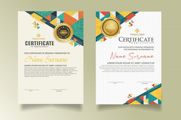 Set modern certificate template with geometric triangle with halftone