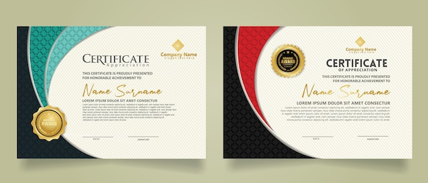 Set modern certificate template with realistic texture diamond shaped on the ornament and modern pattern background. size a4.