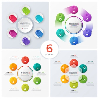 Set of modern circle charts and infographics