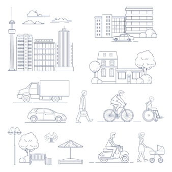 Set of modern city elements in line art style. urban transport, houses, people, skyscrapers etc. vector illustration