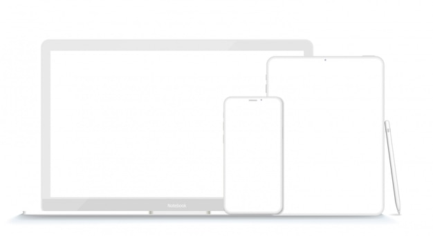 Set of modern clay devices  s: laptop, tablet computer  and phone. illustration