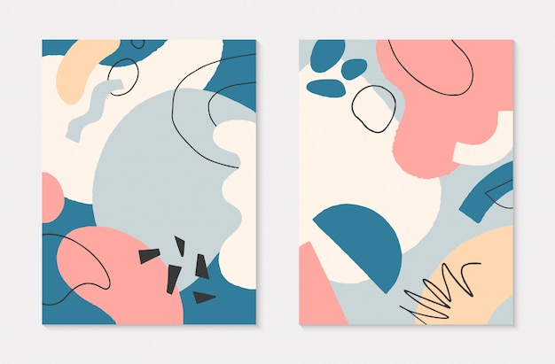 Set of modern collages with hand drawn organic shapes and textures in pastel colors