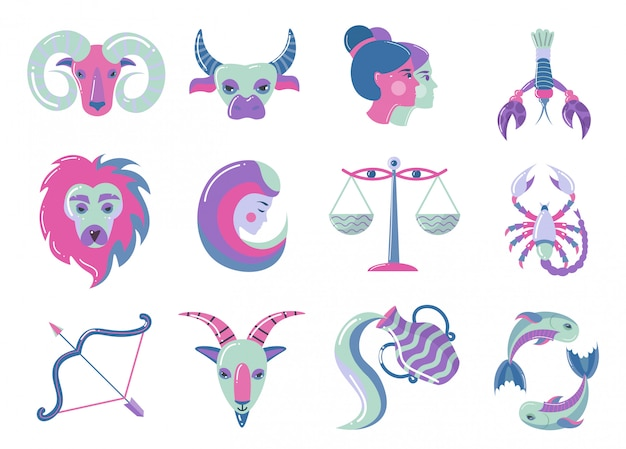 Set of modern color zodiac signs, for web design