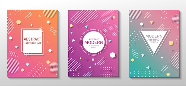 Set of modern colorful abstract geometric flashers