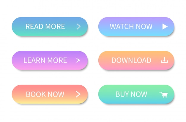 Set of modern colorful buttons. buttons for web site and ui.