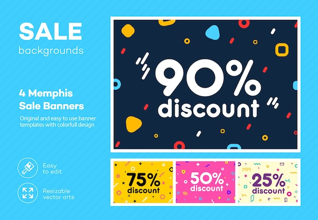 Set of modern colorful poster, banner, flyer template in the memphis style.