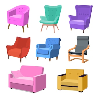 Set of modern colorful soft armchair with upholstery. armchairs for room design games. cushioned furniture, room decoration, interior design isolated on white. illustration flat style.