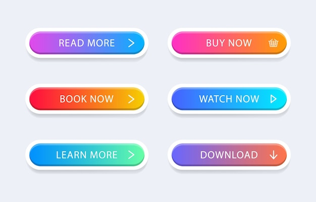 Set of modern colorful web buttons.