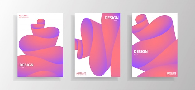 Set of modern colourful abstract wave
