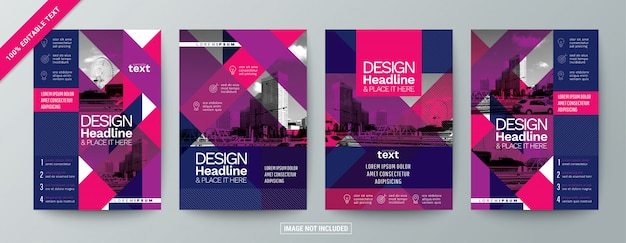 Set of modern commercial brochure flyer with editable text
