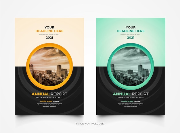 Set of modern corporate annual report business cover template