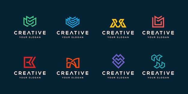 Set of modern corporate identity bundle logo design inspirations template
