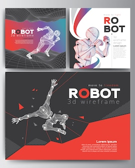Set of modern cover 3d robot wireframe shapes