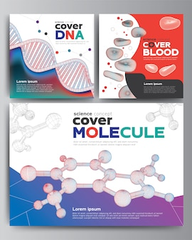Set of modern cover 3d science wireframe shapes