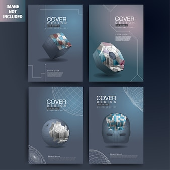 Set of modern cover 3d wireframe geometric shapes