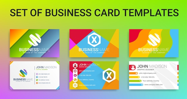 Set of modern creative colorful business card templates
