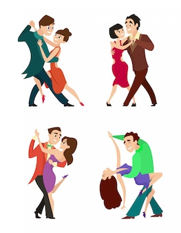 Set of modern dancing young couples