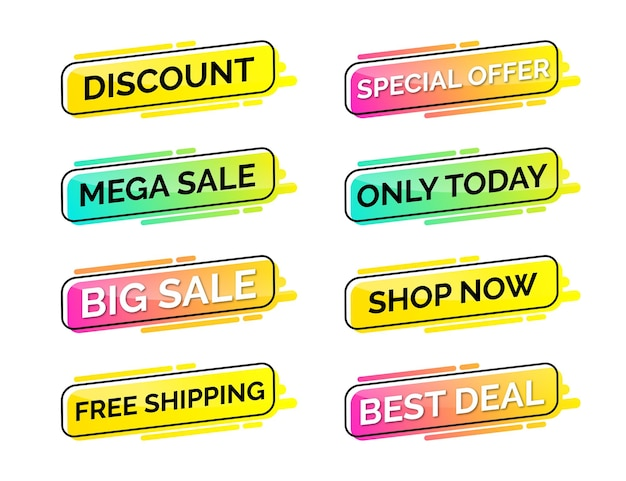 Set of modern discount sale banner and labels