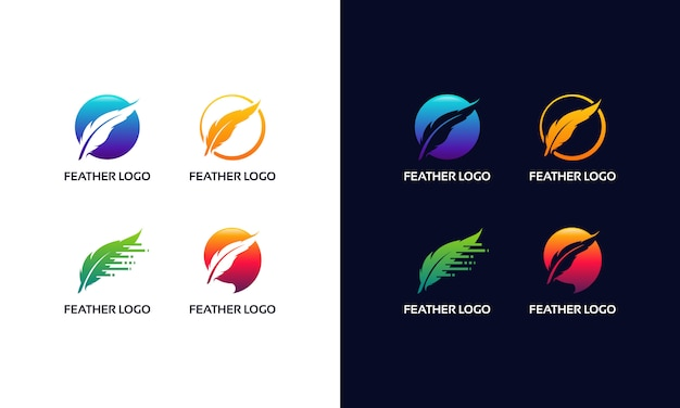 Set of modern feather logo