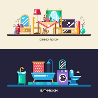 Set of modern flat design home rooms interior furniture website headers