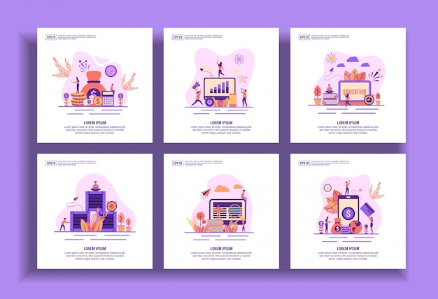 Set of modern flat design templates for business, financial, marketing, education, distribution, e learning, payment.