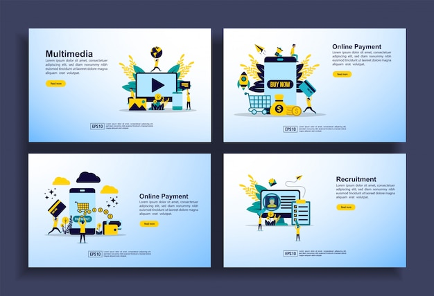 Set of modern flat design templates for business, multimedia, online payment, recruitment.