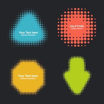 Set of modern flat halftone design elements,