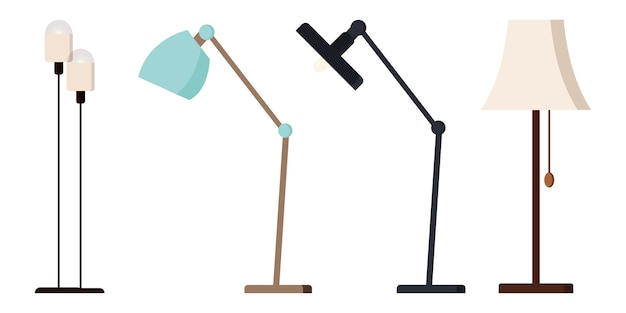 Set of modern floor lamps isolated on white background.