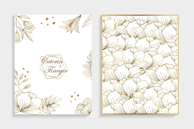 Set of modern floral luxury wedding invitation design or card templates for business