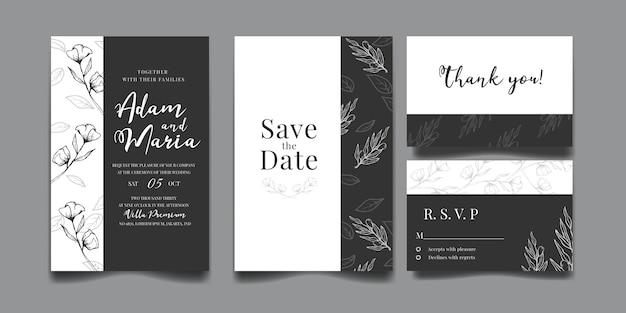 Set of modern floral outline hand drawn luxury wedding invitation
