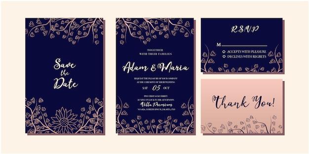 Set of modern floral rose gold luxury wedding invitation