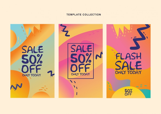 Set modern fluid background template with gradient color for promotional social media post