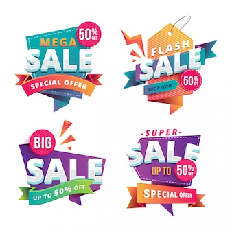 Set of modern and fun big sale ribbon banners