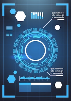 Set of modern futuristic infographic elements technology abstract background template charts