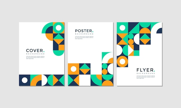Set of modern geometric cover, poster and flyer design
