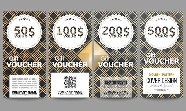Set of modern gift voucher templates. islamic gold pattern