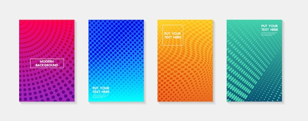 Set modern gradients in abstract sunset and sunrise sea blurred background templates square blurred