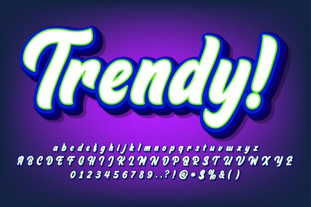 Set of modern graffiti brush font