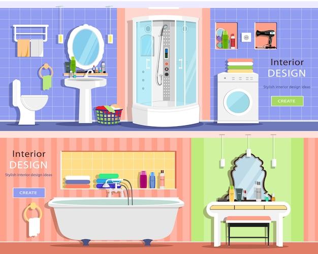 Set of modern graphic bathroom interiors: bath, showers cabin