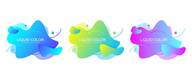 Set of modern graphic design elements in shape of fluid blobs with geometric lines. gradient blue and green, red and violet geometrical shapes. liquid stain with dynamic color for flyer, presentation.