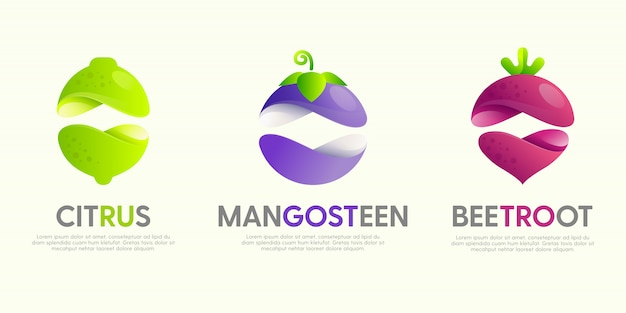 Set of modern great logos with decorative fruits