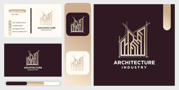 Set of modern home architecture, industrial icon building design logo template